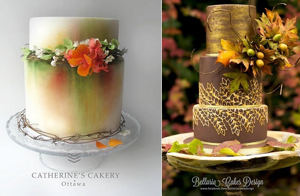 chocolate and gold wedding cake with acorns and leaves for autumn wedding by Bellaria Cake Design right, autumn mist cake by Catherine's Cakery Ottawa left