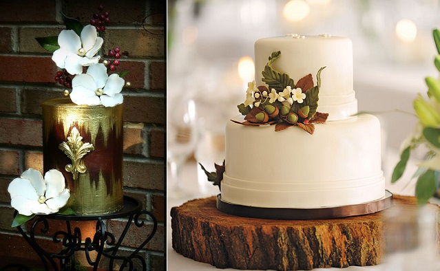 chocolate and gold wedding cake with autumn berries by Karen's Kake Studio left, wedding cake with acorns by Bella e Dolce, Mitch Ranger Photography