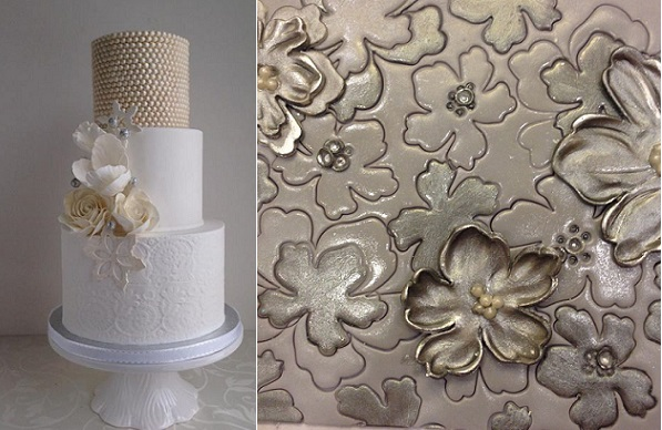 creating texture with embossing by Marina Sousa of Just Cake right, textured winter wedding cake by The Cake Whisperer