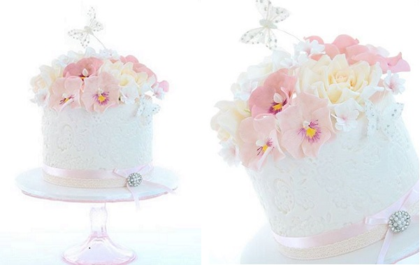 embossed lace cake with added texture by Sweet Love Cake Couture