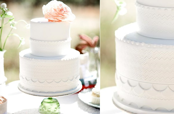 embossed wedding cake lace by Intricate Icings, Kelli Hunt Photography via Style Me Pretty