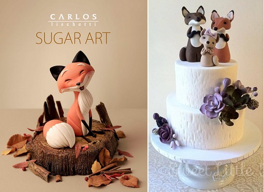fox cake toppers woodland wedding cake by Sweet Little Morsels right, fox sugar model by Carlos Lischetti from Animation in Sugar, Take 2