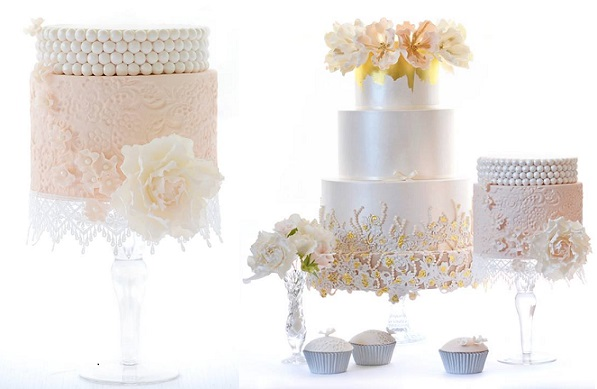 lace embossing textured wedding cakes by Sweet Love Cake Couture, Australia
