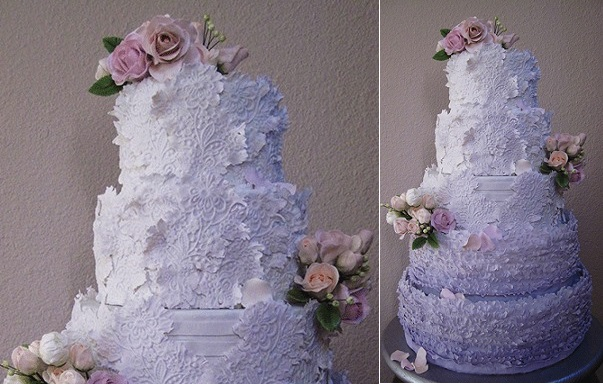 lavender and lace wedding cake by Megan Joy Cakes