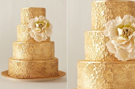 metallic gold textured wedding cake design by City Sweets & Confections, NY