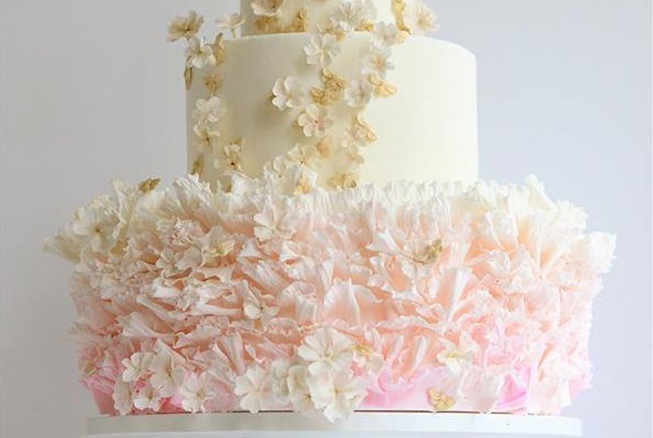 ruffle wedding cake by Maggie Austin in soft pink
