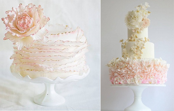 ruffle wedding cakes in blush pink by Lina Veber Cake left, Maggie Austin right