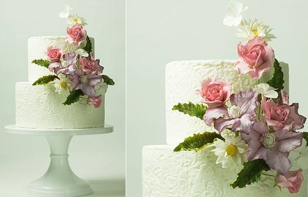 textured lace wedding cake with clematis and chrysanthemum sugar flowers by Lina Veber
