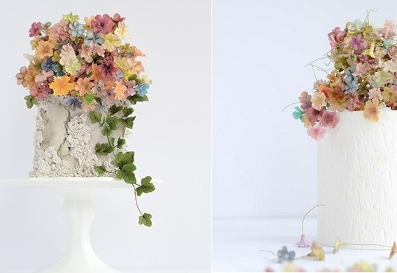 autumn floral wedding cakes by Maggie Austin