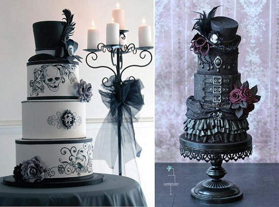 gothic wedding cakes Victorian Steampunk by Christie Cakes left, Sweet Lake Cakes right