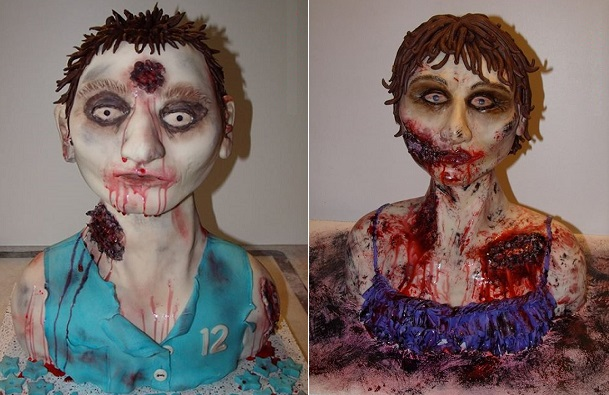 Zombie bust cake tutorials male & female by Deanna Briggs