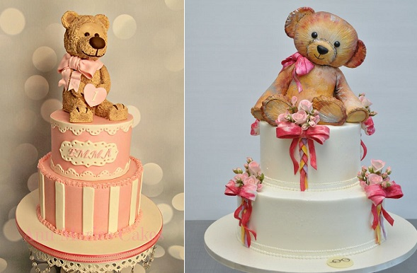 antique teddy bear cakes by Ann Marie's Cakes US left, Sylvia Weinstock right