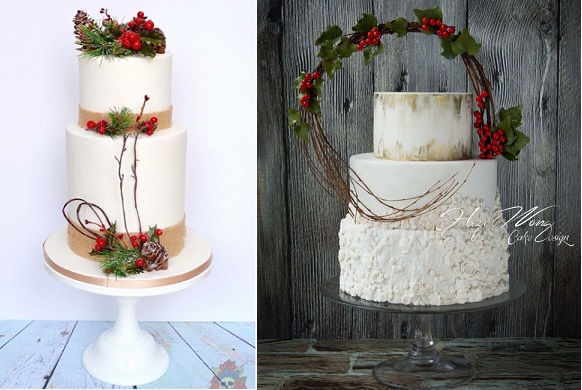 christmas woodland wedding cakes by Karen Keaney of Roses & Bows Cakery left and Hazel Wong Cake Design right