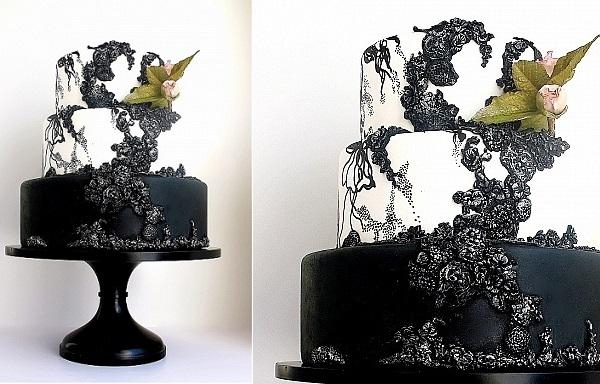 elegant gothic wedding cake by Maggie Austin Cakes