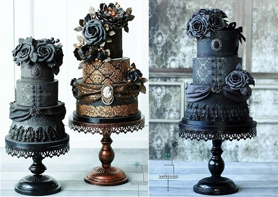 gothic halloween wedding cakes by Sweet Lake Cakes