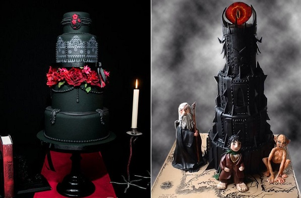 gothic wedding cake by Candytuft Cakes left, Lets Eat Cupcakes right