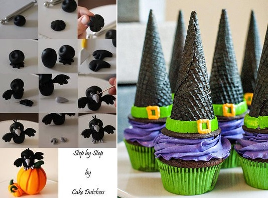 halloween crow cake topper tutorial by the Cake Dutchess, witch's hat cupcakes via Pretty Foods