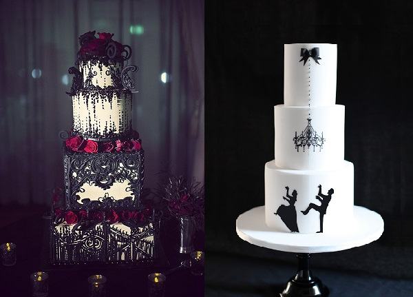 halloween wedding cake image left by Ron Miller Photography, cake right by Other Cake Stories