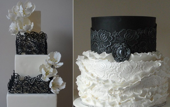 halloween wedding cakes gothic elegance by Cake Central contribs lanawith left, saltandpepper right