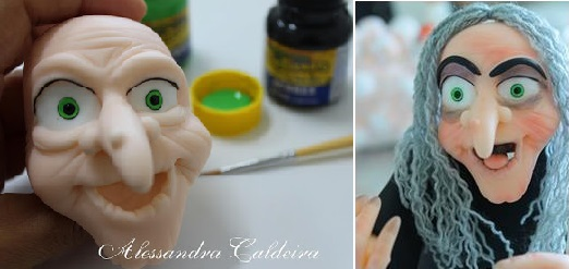 halloween witch cake topper face tutorial by Alessandra Caldeira