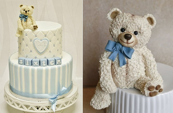 vintage teddy bear cake topper and cake by Sanna's Tartor