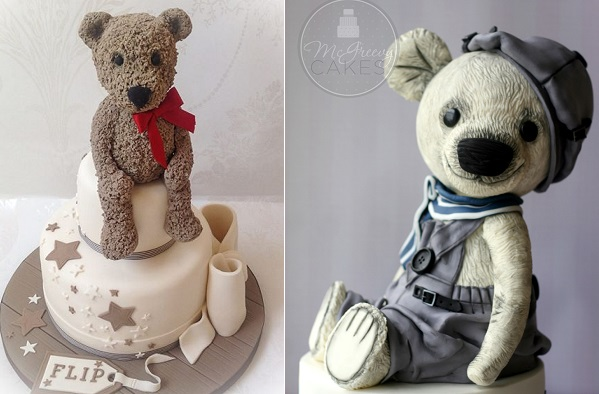 vintage teddy bear cakes by Samantha's Cake Design, Jersey left, McGreevy Cakes right