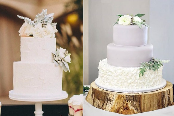 winter woodland wedding cakes by Sweet and Saucy left, Madisons on Main right