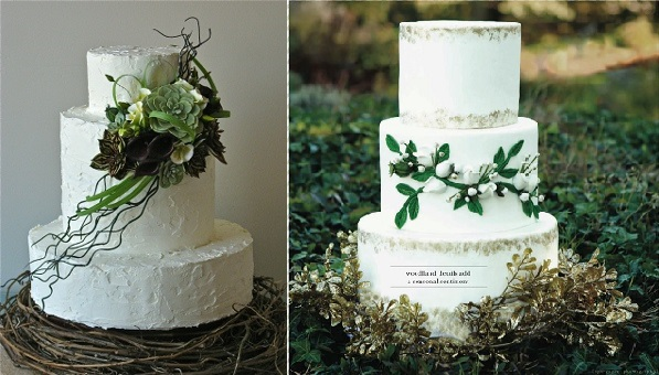 woodland wedding cakes by The People's Cake, Kaysie Lackey left and Wild Orchd Baking Co, Eye Sugar Photography right