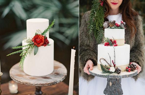winter woodland wedding cakes christmas wedding cakes by melanie gabrielle photo via Ruffled left,  Once Upon A Wedding Co. left Melanie Gabrielle Photo