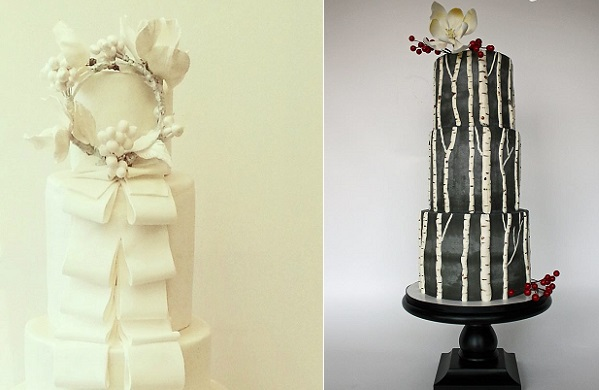 winter woodland wedding cakes for christmas wedding by Swt Creation left, Sharon Bond Cake Design right