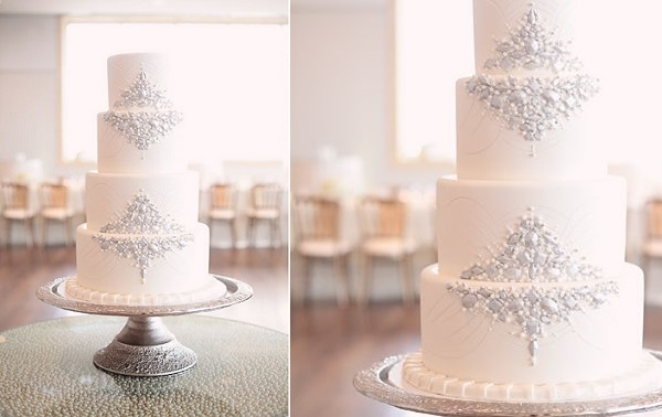 jewelled winter wedding cake, image by Kristin Vining Photography