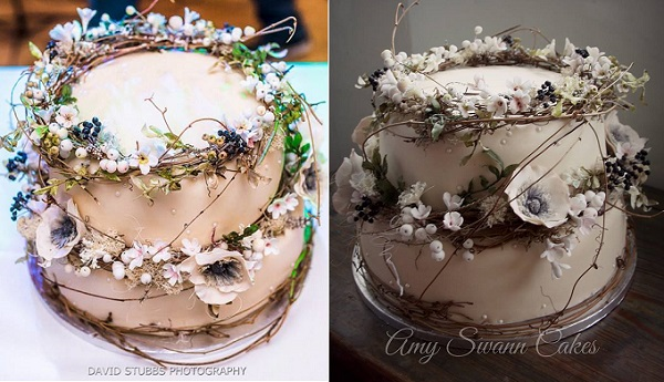 winter woodland wedding cake by Amy Swann Cakes, David Stubbs Photography