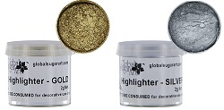 gold and silver highlighter dusts