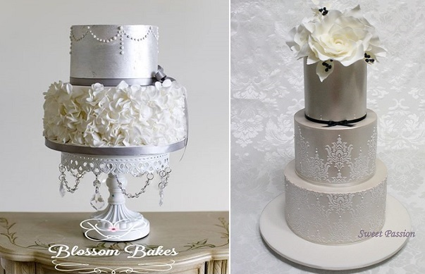 New Year's Eve wedding cakes by Blossom Bakes left, Sweet Passion right