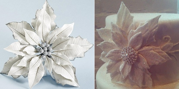 Silver and White gumpaste poinsettia by Nicholas Lodge left, jewelled fantasy poinsettia by Erin Gardner right