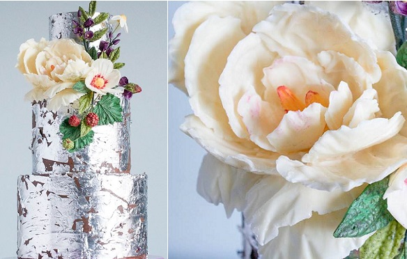 chocolate flowers by Erin Bakes with silver leafed chocolate wedding cake
