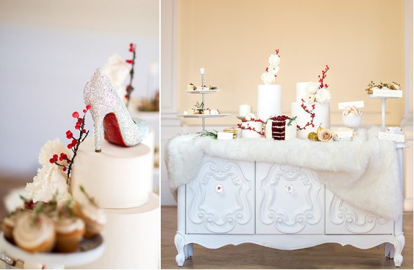 christmas wedding cake table image by Maru Photography via 100 Layer Cake