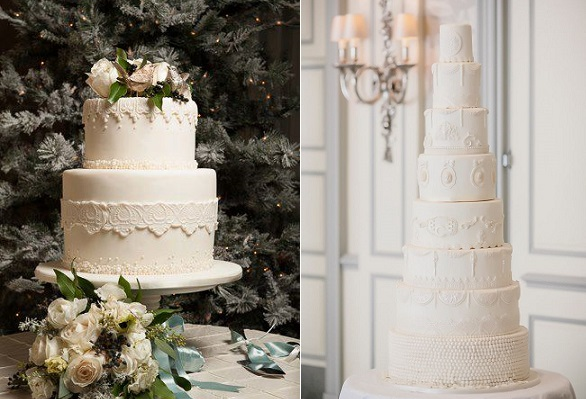christmas wedding cakes by The Graceful Baker, Kristin Wilkerson Photo left, Elizabeth's Cake Emporium, Photography Yemi Osunkoya of Kosibah right