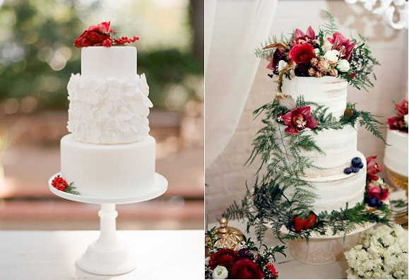 christmas wedding cakes from Elizabeth Anne Designs Grier Photography left, De La Rosa Cupcakes right
