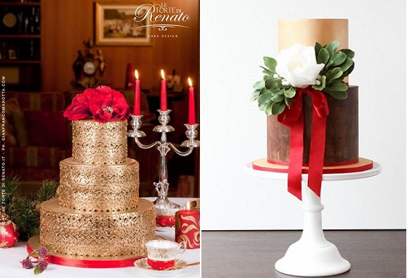 christmas wedding cakes from Le Torte di Renato , Gianfranco Ramotta Photography left, Alma Pasteles right