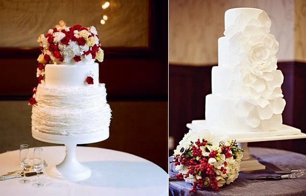 christmas wedding cakes from Megan Joy Cake Design left, The Graceful Baker (Oakstream Photography) right