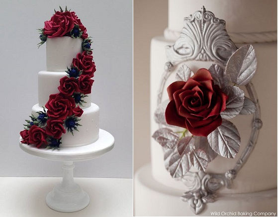 christmas wedding cakes from Scrumdiddly UK left, Erin Gardner right