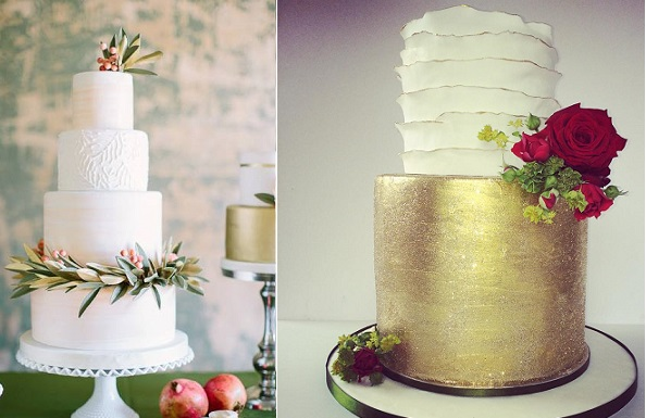 christmas wedding cakes from Sugarbelle Cakes, CA left, Baked in Bunbury right