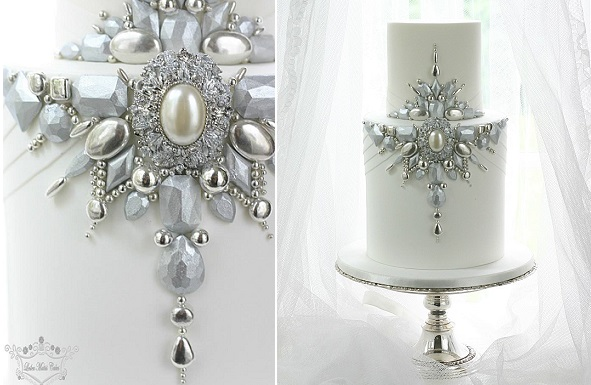 jewelled winter wedding cake by Leslea Matsis