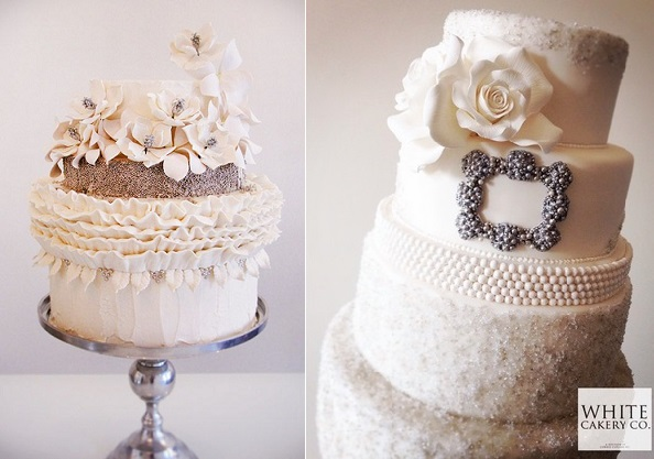 Jewelled & Beaded Winter Wedding Cakes