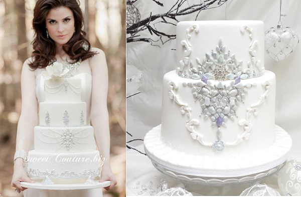 jewelled winter wedding cakes by Sweet Couture left, BonnallieBrodeur Photography, The Cake Temple right