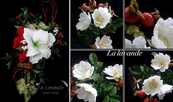 red and white gumpaste sugar flower arrangement by La Lavande Sugar Florist