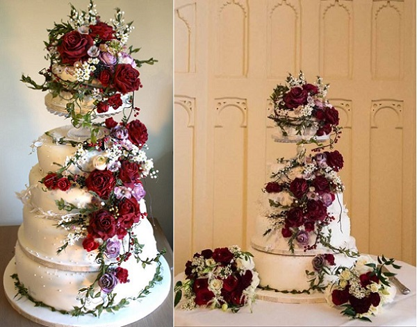red roses winter wedding cake by Amy Swann Cakes