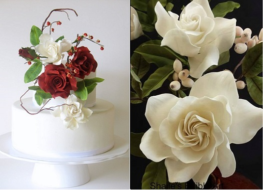 roses and gardenia by TheSugarArtist on CC, Shaile's Edible Art right