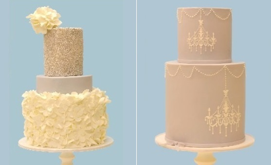 silver sequinned wedding cake and dove grey chandelier wedding cake by Lovely Cakes, CT
